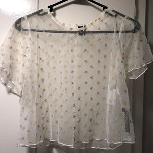 Out From Under by UO, White Sheer Crop with Stars